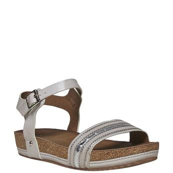 Dámské sandály na flatformě bata, šedá, 561-2404 - 13