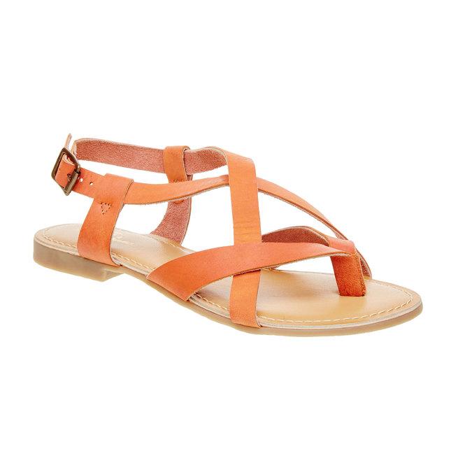 Dámské nízké kožené sandály bata, oranžová, 2021-564-5452 - 13