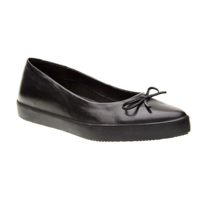 Kožené baleríny s výraznou podešví bata, černá, 524-6464 - 13