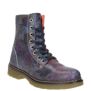Kožená kotníčková obuv s květinovým motivem bata, modrá, 596-9609 - 13