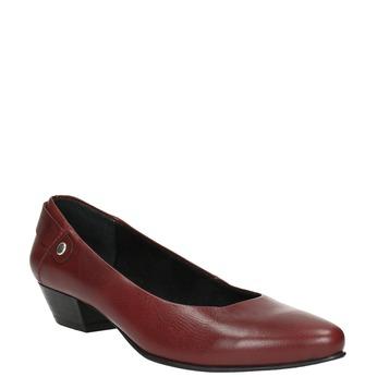 Kožené lodičky na nízkém podpatku bata, červená, 624-5603 - 13