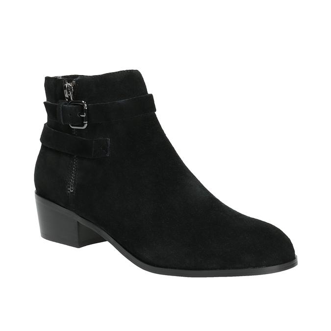 Kotníčková obuv z broušené kůže bata, černá, 693-6600 - 13