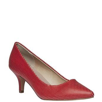 červené lodičky s perforací, červená, 621-5384 - 13