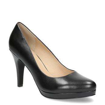 Černé kožené lodičky insolia, černá, 724-6104 - 13
