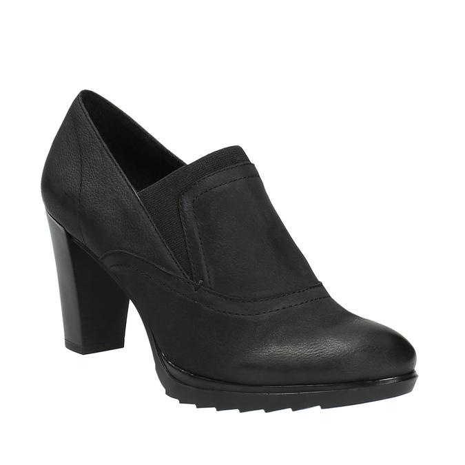 Kožené polobotky na podpatku bata, černá, 796-6603 - 13