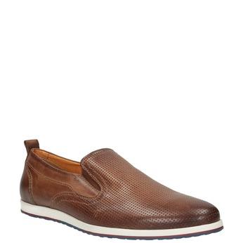 Pánské kožené Slip on boty bata, hnědá, 814-4148 - 13