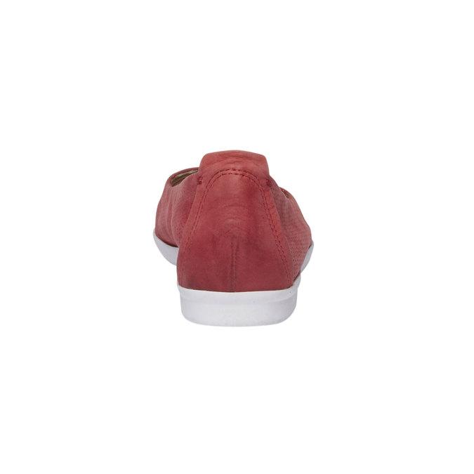 Kožené baleríny s perforací bata, červená, 526-5486 - 17