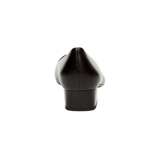 Černé kožené lodičky se širokým podpatkem hogl, černá, 624-6272 - 17