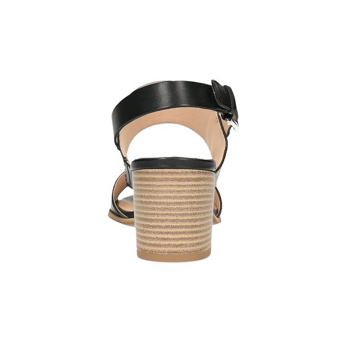 Kožené sandály na širokém podpatku bata, černá, 664-6205 - 17