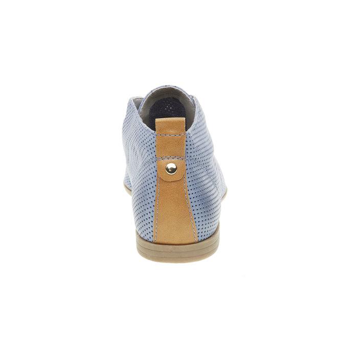 Kožené kotníčkové polobotky s perforací bata, modrá, 526-9495 - 17