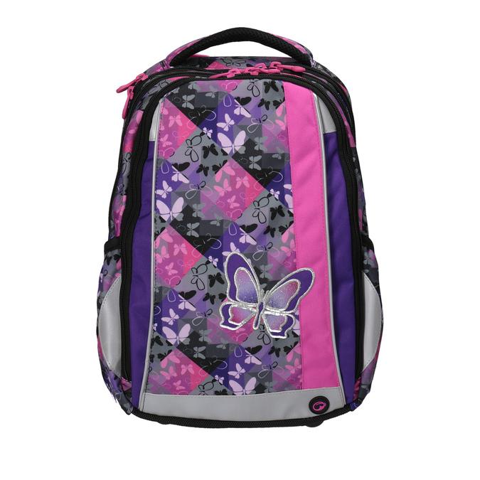 Školní batoh s motýlky bagmaster, fialová, růžová, 969-5607 - 19
