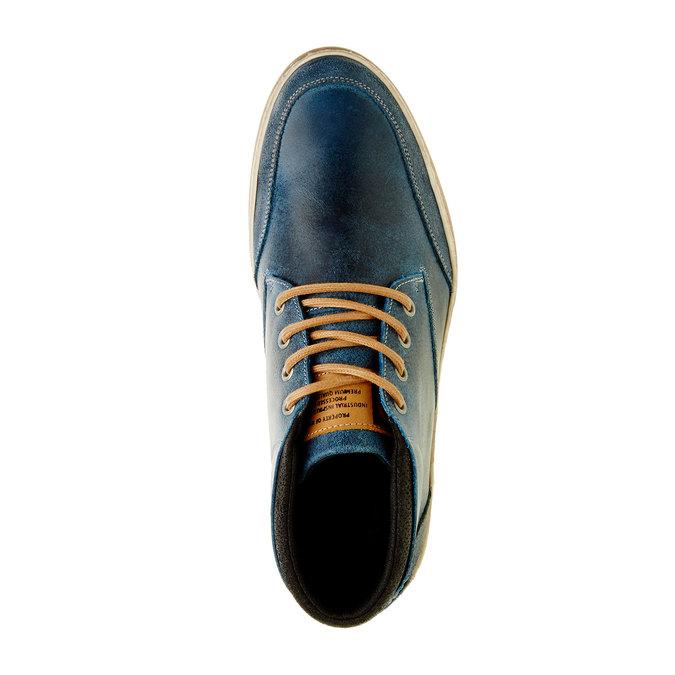 Modré kožené tenisky ke kotníkům bata, modrá, 844-9620 - 19