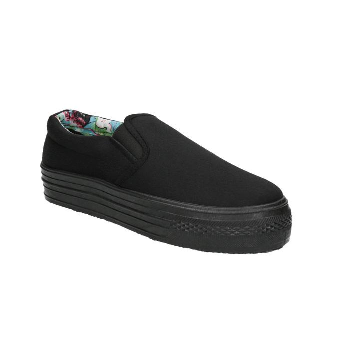 Černé Slip-on na široké podešvi bata, černá, 529-6631 - 13