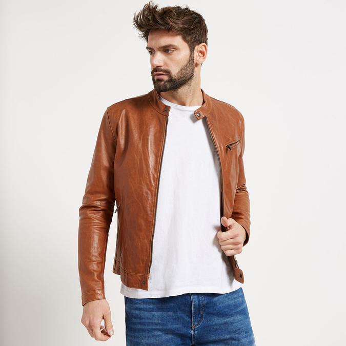 Pánská kožená bunda se stylovým prošitím bata, hnědá, 974-3142 - 13