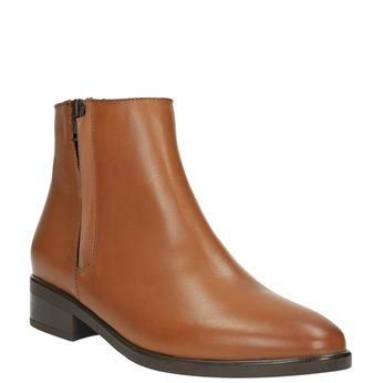 Kožená kotníčková obuv se zipem bata, hnědá, 594-3518 - 13
