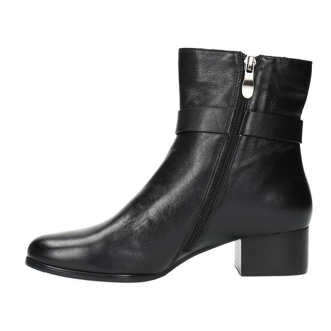Kožené kotníčkové kozačky na nízkém podpatku bata, černá, 694-6630 - 26