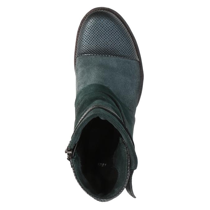Kožená kotníčková obuv se stříbrnými detaily bata, tyrkysová, 596-9614 - 19