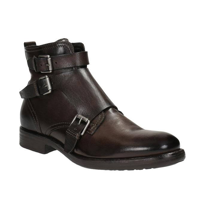 Kožená kotníčková obuv s přezkami bata, hnědá, 894-4683 - 13