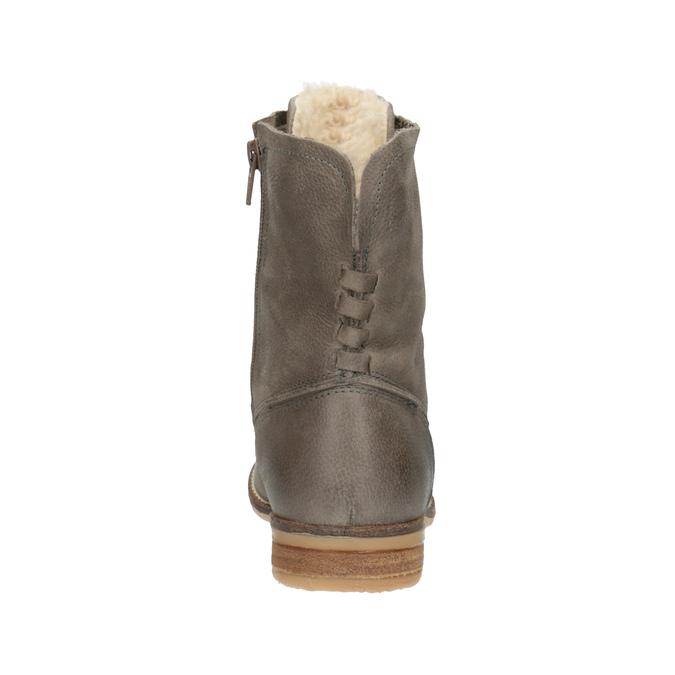 Kožená kotníčková obuv se zateplením bata, šedá, 596-2610 - 17