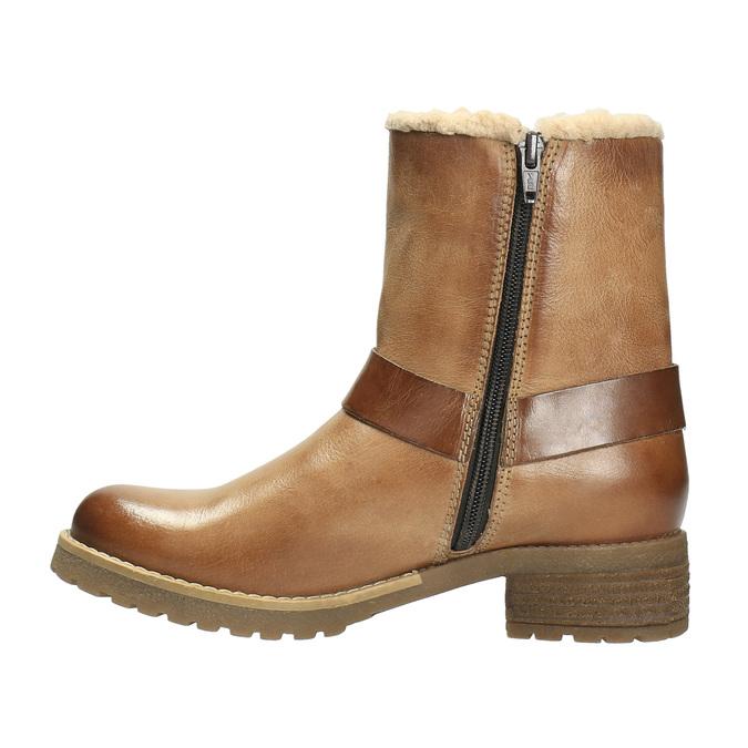 Kožená zimní obuv s kožíškem bata, hnědá, 594-4609 - 26