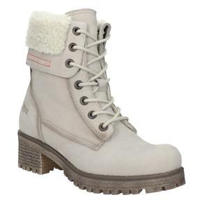 Kožená zimní obuv s kožíškem bata, béžová, 696-3336 - 13