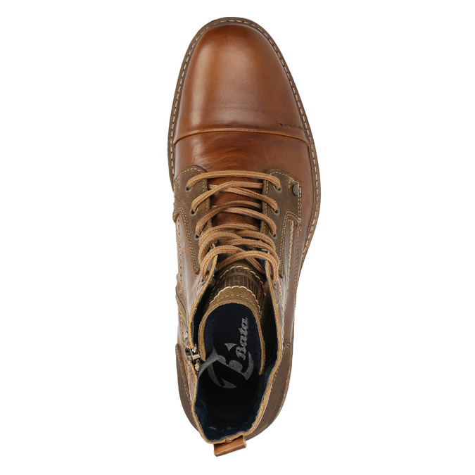 Kožená kotníčková obuv pánská bata, hnědá, 894-4621 - 19