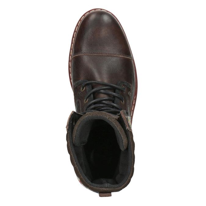 Kožená zimní obuv s károvaným detailem bata, hnědá, 896-4650 - 19