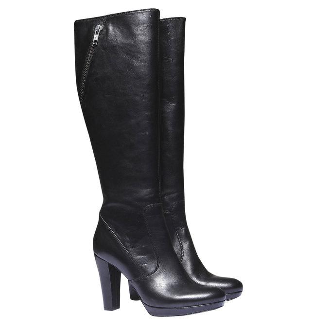 Kožené kozačky na podpatku bata, černá, 794-6602 - 26