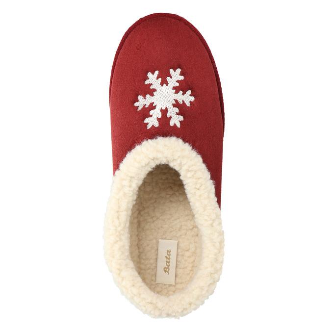 Domácí pantofle s umělým kožíškem bata, červená, 579-5612 - 19