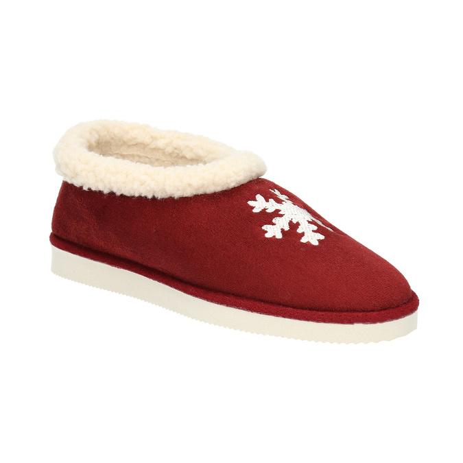 Domácí pantofle s umělým kožíškem bata, červená, 579-5612 - 13