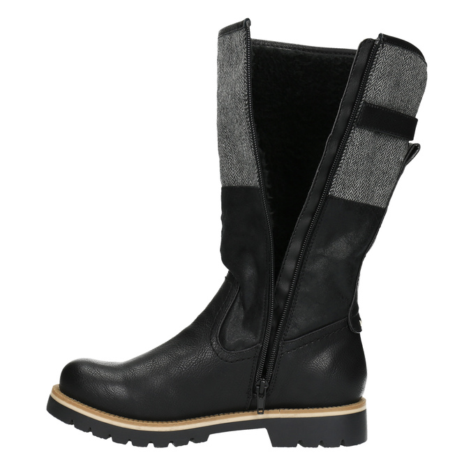 Kozačky na výrazné podešvi bata, černá, 591-6608 - 19