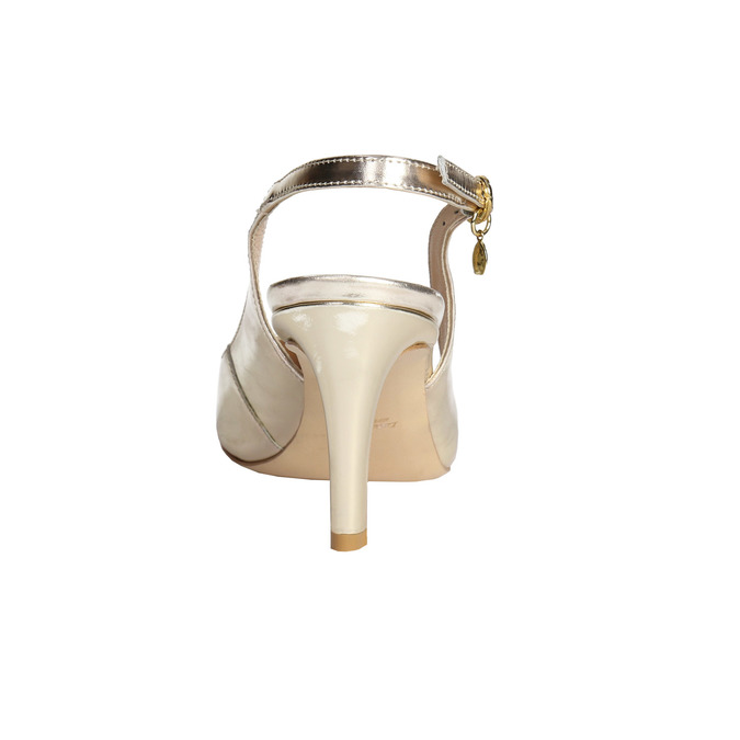 Dámské kožené lodičky s volnou patou bata, zlatá, 726-8643 - 17