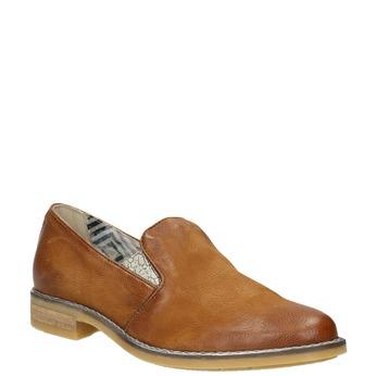 Dámské kožené Loafers bata, hnědá, 516-4603 - 13
