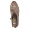Kožené kotníčkové kozačky s rozevřeným zipem bata, hnědá, 796-5641 - 19