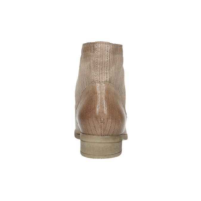 Kožená kotníčková obuv s perforovaným vzorem bata, hnědá, 596-4646 - 17