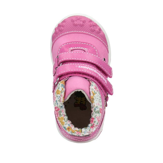 Dívčí kotníčková obuv s kytičkami bubblegummers, růžová, 121-5612 - 19