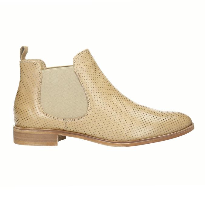 Kožené Chelsea boty s perforací bata, béžová, 596-3651 - 15