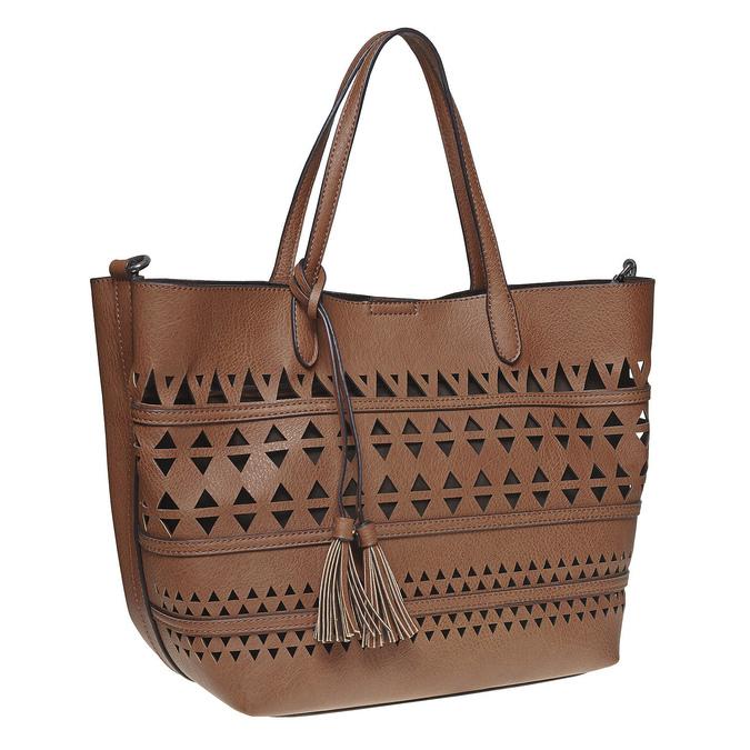 Perforovaná dámská kabelka bata, hnědá, 961-3274 - 13