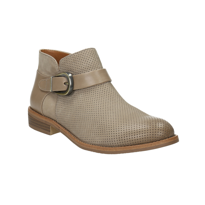 Kožená kotníčková obuv se sponou bata, hnědá, 596-3634 - 13