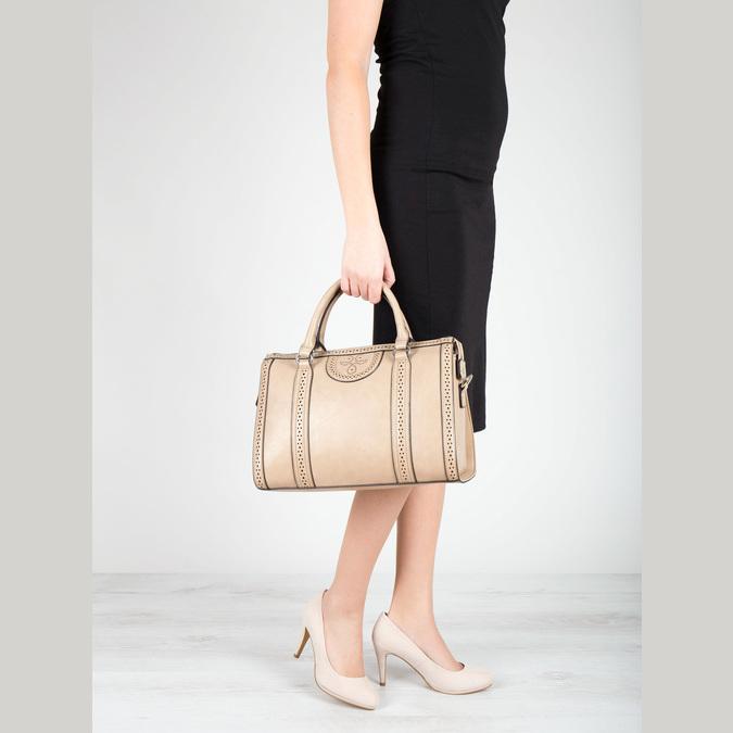 Dámská kabelka s perforací bata, béžová, 961-8868 - 17