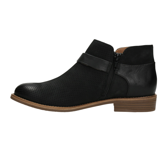 Kožená kotníčková obuv se sponou bata, černá, 596-6634 - 26