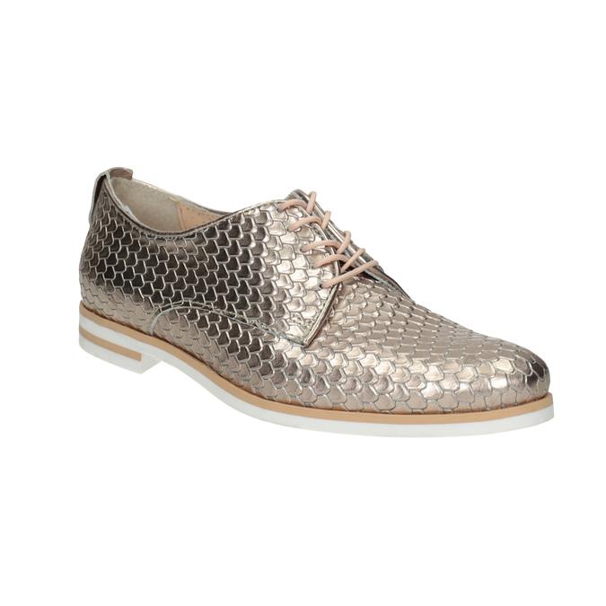 Kožené polobotky s motivem šupin bata, zlatá, 526-8627 - 13