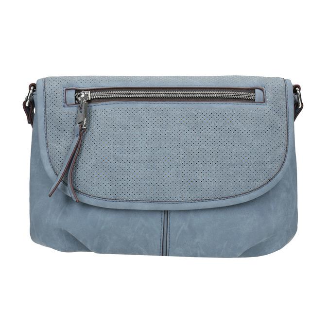 Crossbody kabelka s perforovanou klopou bata, modrá, 961-9709 - 26