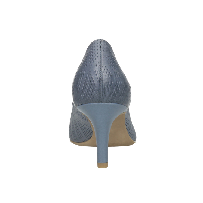 Kožené lodičky s perforací pillow-padding, modrá, 626-9636 - 17