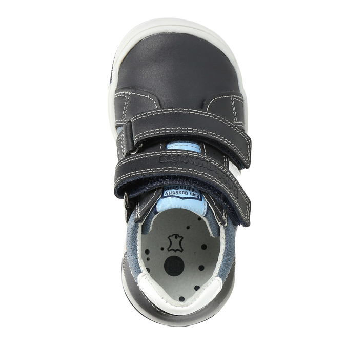 Dětské kožené boty na suché zipy bubblegummers, modrá, 116-9600 - 17