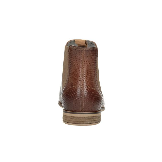 Kožené kotníčkové Chelsea Boots s perforací bata, hnědá, 596-4644 - 17