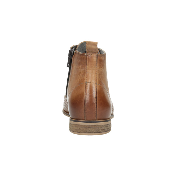 Kožená kotníčková obuv s perforací bata, hnědá, 596-4645 - 17