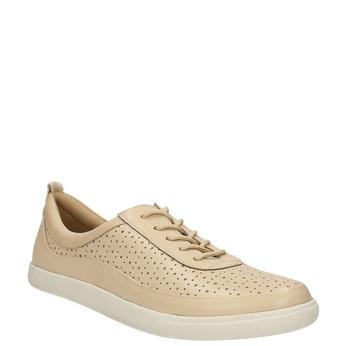 Dámské kožené tenisky s perforací bata, béžová, 526-8618 - 13