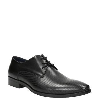 Černé kožené Derby polobotky bata, černá, 826-6804 - 13