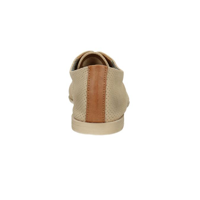 Kožené polobotky s perforací bata, béžová, 526-8619 - 17